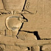 The Ancient Egyptian God Horus Sculpted On The Wall Of The First Pylon At The Temple Of Edfu Print by Sami Sarkis