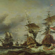 The Battle Of Texel Print by Louis Eugene Gabriel Isabey