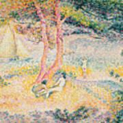 The Beach At St Clair Print by Henri-Edmond Cross