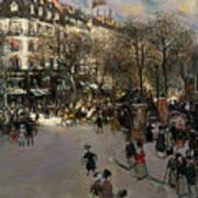 The Boulevard Des Italiens Print by Jean Francois Raffaelli