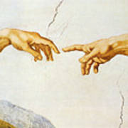The Creation Of Adam Print by Michelangelo Buonarroti