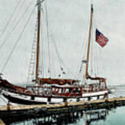 The Cutty Sark In Penn Cove Fog Print by Perry Woodfin