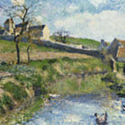 The Farm At Osny Print by Camille Pissarro