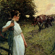 The Farmer's Daughter Print by Henry Herbert La Thangue