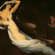 The Figures Of Francesca Da Rimini And Paolo Da Verrucchio Appear To Dante And Virgil Print by Ary Scheffer