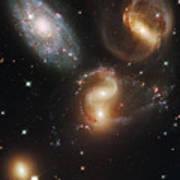 The Galaxies Of Stephans Quintet Print by Nasa/Esa