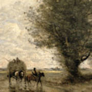 The Haycart Print by Jean Baptiste Camille Corot