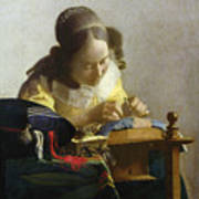 The Lacemaker Print by Jan Vermeer