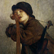 The Little Violinist Sleeping Print by Antoine Auguste Ernest Hebert