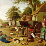 The Market Cart Print by Henry Charles Bryant