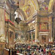 The Miracle Of The Liquefaction Of The Blood Of Saint Januarius Print by Giacinto Gigante