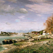The Old Quay At Bercy Print by Jean Baptiste Armand Guillaumin