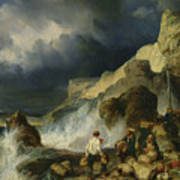 The Onslaught Of The Smugglers Print by Louis Eugene Gabriel Isabey