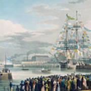 The Opening Of Saint Katharine Docks Print by Edward Duncan