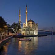 The Ortakoy Mosque And Bosphorus Bridge At Dusk Print by Ayhan Altun