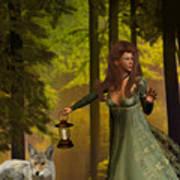 The Princess And The Wolf Print by Emma Alvarez