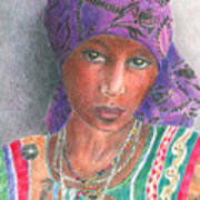 The Purple Scarf  Print by Arline Wagner