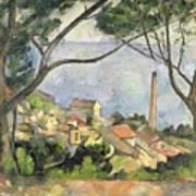 The Sea At L Estaque Print by Paul Cezanne