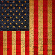 The United States Declaration Of Independence And The American Flag 20130215 Print by Wingsdomain Art and Photography
