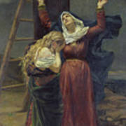 The Virgin At The Foot Of The Cross Print by Jean Joseph Weerts
