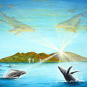 The Whales Of Maui Print by Jerome Stumphauzer