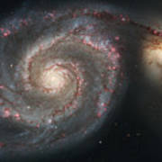 The Whirlpool Galaxy M51 And Companion Print by Stocktrek Images