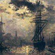 The Windmills In Rotterdam Print by Johan Barthold Jongkind