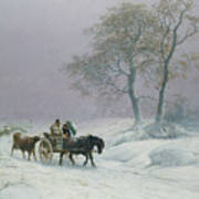 The Wintry Road To Market  Print by Thomas Sidney Cooper
