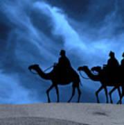 Three Kings Travel By The Star Of Bethlehem - Midnight Print by Gary Avey