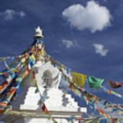 Tibetan Stupa With Prayer Flags Print by Michele Burgess