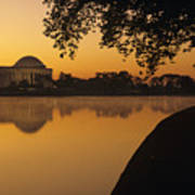 Tidal Basin And Jefferson Memorial Print by Kenneth Garrett