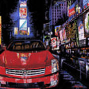 Times Square ....cadillac Print by Mike Hill