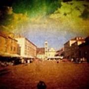 Town Square #edit - #hvar, #croatia Print by Alan Khalfin