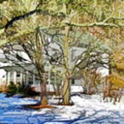 Traditional American Home In Winter Print by Lanjee Chee