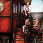 Train - Yard - Receiving A Telegram  Print by Mike Savad