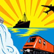 Train Boat Plane And Dam Print by Aloysius Patrimonio