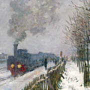 Train In The Snow Or The Locomotive Print by Claude Monet
