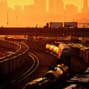 Trains At Sunrise Print by Don Wolf