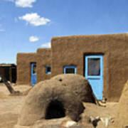Tres Casitas Taos Pueblo Print by Kurt Van Wagner