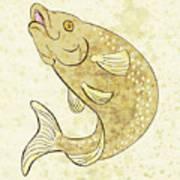 Trout Fish Jumping Print by Aloysius Patrimonio