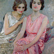 Two Young Women Seated Print by William Henry Margetson