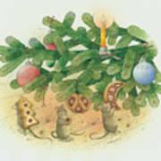 Under The  Christmas Tree Print by Kestutis Kasparavicius