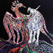 Unicorn And Phoenix Merge Paths Print by Carol Law Conklin
