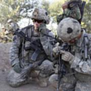 U.s. Army Soldier Radios In His Teams Print by Stocktrek Images