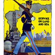 U.s. Marines - Service On Land And Sea Print by War Is Hell Store
