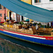 Venice Fresh Market Boat Print by Italian Art