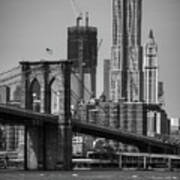 View Of One World Trade Center And Brooklyn Bridge Print by Matt Pasant