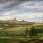 View Of Paris From Butte Aux Cailles Print by Jean Baptiste Gabriel Langlace