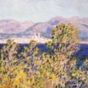 View Of The Cap Dantibes With The Mistral Blowing Print by Claude Monet