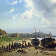 View Of The Dutch Coast Print by Johan Gerard Smits